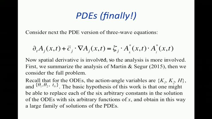 The three-wave PDEs for resonantly interacting triads - Harvey Segur