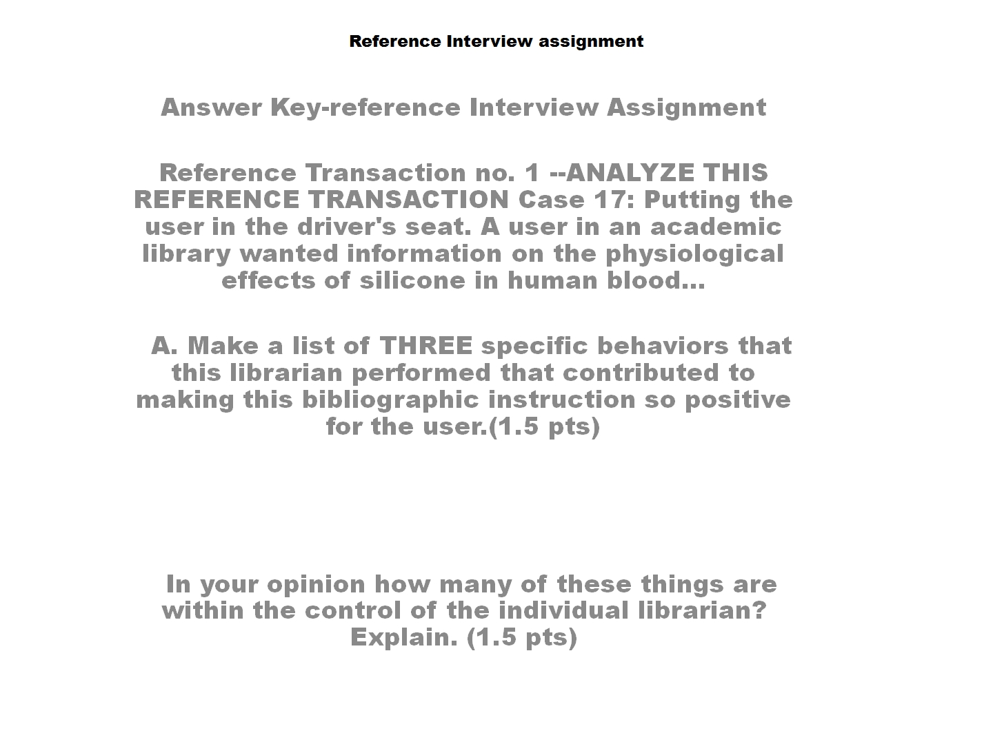 Reference Interview Assignment