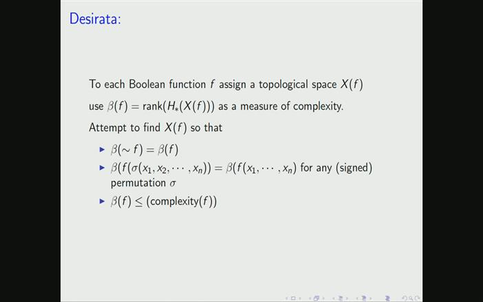 Topological aspects of Boolean functions - Mark Goresky