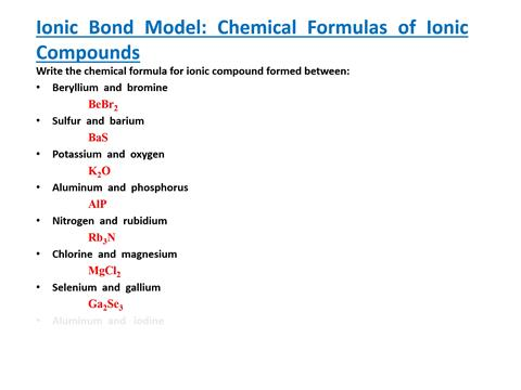 Ionic Bond Model Chemical Formulas Of Ionic Compounds