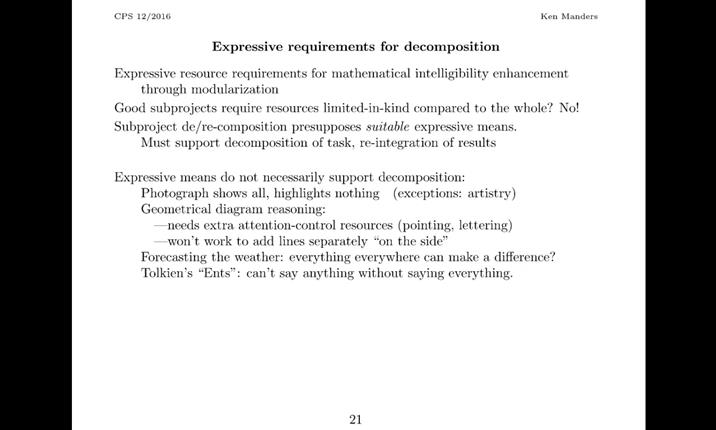 Expressive Means and Intelligibility  Kenneth Manders ALS Talk