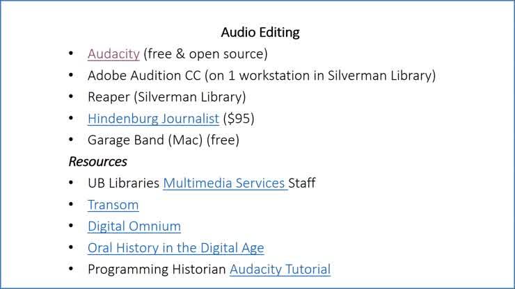 Oral History Tools & Methods