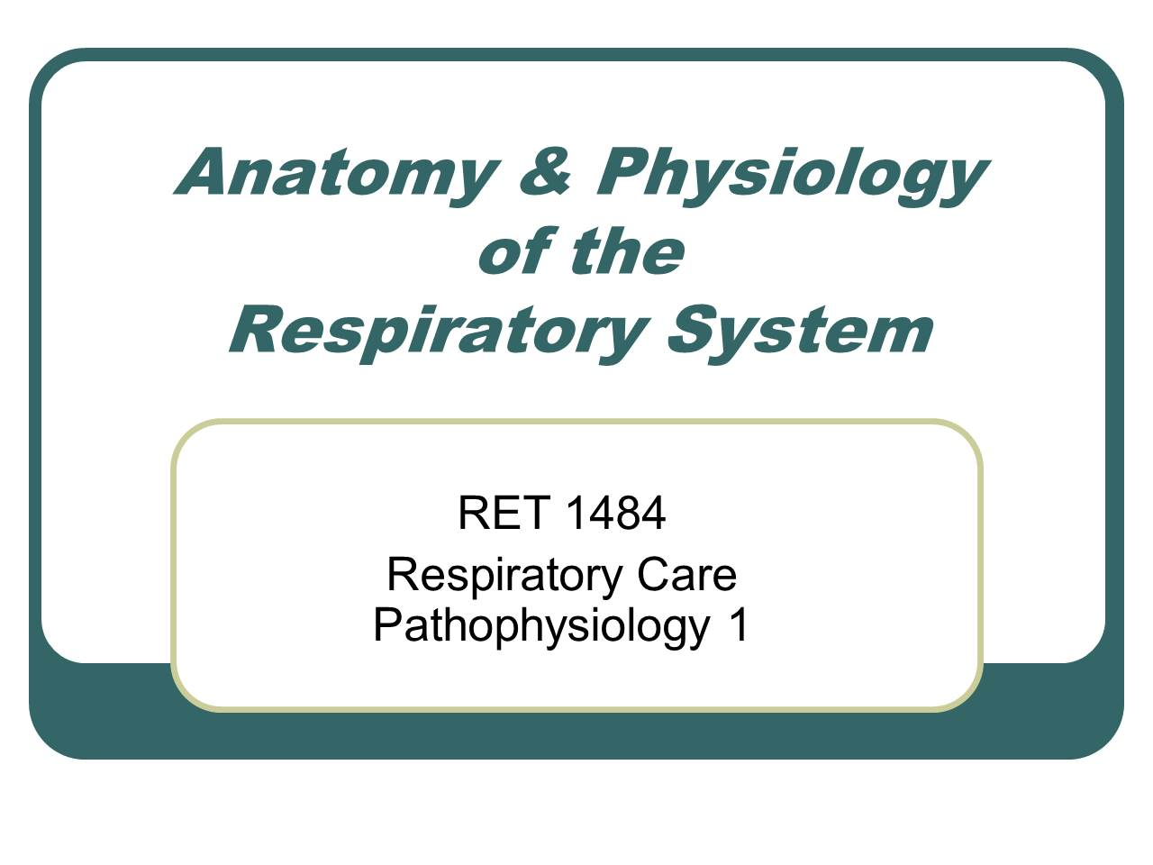 Anatomy & Physiology of the Respiratory System